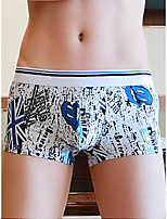cheap -Men's Print Boxers Underwear - Normal Low Waist White Blue Yellow S M L