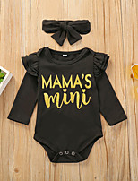 cheap -2 Piece Baby Girls' Active Basic Solid Colored Print Long Sleeve Bodysuit Black