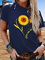 cheap -Women's T-shirt Floral Round Neck Tops Summer White Orange Navy Blue