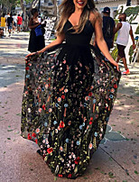 cheap -A-Line Floral Maxi Holiday Prom Dress V Neck Sleeveless Floor Length Tulle with Embroidery 2020