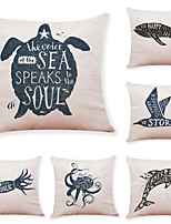 cheap -6 Pcs Linen Pillow Cover Marine Animal Linen Pillow Cases Car Pillow Cushions Sofa Pillows Office Nap Pillows