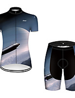 cheap -21Grams Women's Short Sleeve Cycling Jersey with Shorts Nylon Polyester Black / Blue 3D Gradient Rocket Bike Clothing Suit Breathable 3D Pad Quick Dry Ultraviolet Resistant Reflective Strips Sports 3D