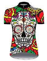 cheap -21Grams Women's Short Sleeve Cycling Jersey Nylon Polyester Red / Yellow Skull Floral Botanical Funny Bike Jersey Top Mountain Bike MTB Road Bike Cycling Breathable Quick Dry Ultraviolet Resistant