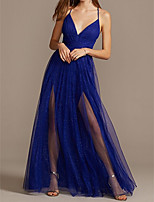 cheap -A-Line Beautiful Back Sparkle Holiday Prom Dress Halter Neck Sleeveless Floor Length Tulle with Sequin Split 2020