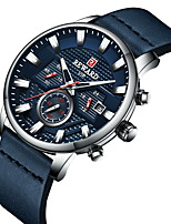 cheap -Men's Sport Watch Quartz Sporty Casual Water Resistant / Waterproof Genuine Leather Black / Blue Analog - Black+Gloden Black Blue One Year Battery Life / Chronograph / Noctilucent / Tachymeter