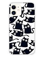 cheap -Case For Apple iPhone 11 11 Pro 11 Pro Max XS XR XS Max 8 Plus 7 Plus 6S Plus 8 7 6 6s SE 5 5S Transparent Pattern Back Cover Black Cat Soft TPU