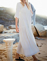 cheap -Women's Swing Dress Maxi long Dress - Half Sleeve Solid Color Summer Fall Boho Going out 2020 White Black S M L XL
