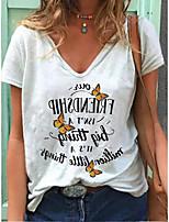 cheap -Women's T-shirt Letter Print V Neck Tops White