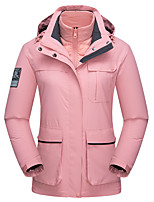 cheap -Wolfcavalry® Women's Hiking Down Jacket Hiking Jacket Winter Outdoor Waterproof Windproof Breathable Warm Top Full Length Hidden Zipper Hunting Fishing Climbing White / Black / Pink