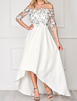 cheap -A-Line Elegant Floral Engagement Prom Dress Off Shoulder 3/4 Length Sleeve Asymmetrical Lace Satin with Sash / Ribbon Appliques 2020 / Illusion Sleeve