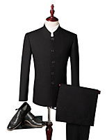 cheap -Tuxedos Tailored Fit / Standard Fit Single Breasted Four-buttons Cotton Blend / Cotton / Polyester Solid Colored