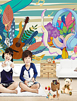 cheap -Custom Self-adhesive Mural Wallpaper Musical Instrument Children's Cartoon Style Suitable For Bedroom Children's Room School Party Wall Cloth Room Wallcovering
