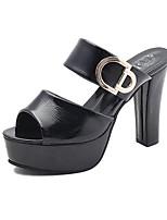 cheap -Women's Sandals Summer Stiletto Heel Peep Toe Daily PU White / Black / Red