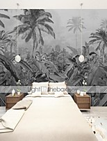 cheap -Art Deco  Custom Self Adhesive Mural Wallpaper Southeast Asia Leaves Black and White Suitable for Background Wall Living Room Coffee Shop Restaurant Hotel Wall Decoration Art