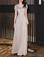 cheap -A-Line Minimalist Sparkle Engagement Formal Evening Dress V Neck Short Sleeve Floor Length Sequined with Sequin 2020