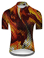 cheap -21Grams Men's Short Sleeve Cycling Jersey Nylon Polyester Orange Plaid Checkered 3D Gradient Bike Jersey Top Mountain Bike MTB Road Bike Cycling Breathable Quick Dry Ultraviolet Resistant Sports