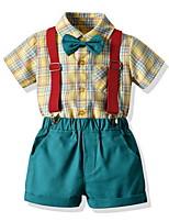 cheap -Kids Toddler Boys' Basic Check Short Sleeve Clothing Set Yellow