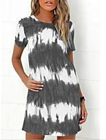 cheap -Women's T Shirt Dress Knee Length Dress - Short Sleeves Color Gradient Summer Casual 2020 Wine Blue Purple Army Green Green Brown Gray S M L XL XXL XXXL XXXXL XXXXXL