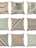 cheap -9 pcs Linen Pillow Cover, Geometric Casual Modern Square Traditional Classic