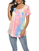 cheap -Women's T-shirt Tie Dye Tops Round Neck Daily Summer Purple Blushing Pink Light Green S M L XL 2XL