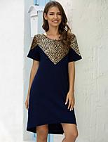 cheap -Women's A-Line Dress Knee Length Dress - Short Sleeves Leopard Summer Work 2020 Wine Army Green Navy Blue S M L XL