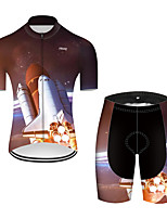 cheap -21Grams Men's Short Sleeve Cycling Jersey with Shorts Nylon Polyester Black / Red 3D Gradient Rocket Bike Clothing Suit Breathable 3D Pad Quick Dry Ultraviolet Resistant Reflective Strips Sports 3D