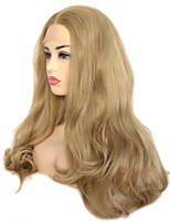 cheap -Dark Ash Blonde Natural Wave Synthetic Lace Front Wig Heat Resistant Fiber Daily Wearing For Women