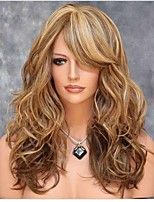 cheap -Synthetic Wig Curly Asymmetrical Wig Long Brown Synthetic Hair 24 inch Women's Highlighted / Balayage Hair curling Fluffy Brown