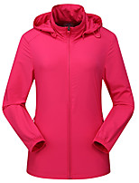 cheap -DZRZVD® Women's Hiking Skin Jacket Hiking Jacket Summer Outdoor Windproof Sunscreen Breathable Quick Dry Jacket Top Elastane Single Slider Running Hunting Fishing Pink / Orange / Rose Red