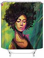 cheap -African Woman on Green Background Shower Curtains & Hooks Modern Polyester New Design