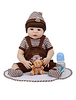cheap -FeelWind 22 inch Reborn Doll Baby & Toddler Toy Reborn Toddler Doll Baby Boy Gift Cute Lovely Parent-Child Interaction Tipped and Sealed Nails Full Body Silicone LV003-55 with Clothes and Accessories