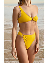 cheap -Women's Basic Off Shoulder Halter Cheeky Bikini Swimwear Swimsuit - Solid Colored Backless Quick Dry S M L Yellow
