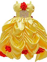 Недорогие -Принцесса красавица Платья Платье девушки цветка Девочки Косплей из фильмов Комбинация трапецией Желтый Платье Карнавал День детей Маскарад Полиэстер