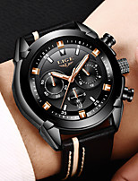 cheap -LIGE Men's Sport Watch Quartz Modern Style Stylish Leather Black Water Resistant / Waterproof Calendar / date / day Noctilucent Analog Casual Outdoor - Black Gold Silver