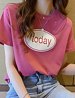 cheap -Women's T-shirt Letter Tops Round Neck Daily White Black Blue M L XL 2XL