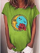 cheap -Women's T-shirt Graphic Round Neck Tops Basic Top Wine Green