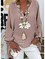 cheap -Women's T-shirt Graphic Tops V Neck Daily Spring Fall Purple Dusty Rose Green S M L XL 2XL 3XL