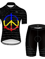 cheap -21Grams Men's Short Sleeve Cycling Jersey with Shorts Nylon Polyester Black Gradient Peace & Love Bike Clothing Suit Breathable 3D Pad Quick Dry Ultraviolet Resistant Reflective Strips Sports Solid