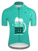 cheap -21Grams Men's Short Sleeve Cycling Jersey Nylon Polyester Green 3D Gradient Oktoberfest Beer Bike Jersey Top Mountain Bike MTB Road Bike Cycling Breathable Quick Dry Ultraviolet Resistant Sports