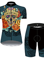 cheap -21Grams Women's Short Sleeve Cycling Jersey with Shorts Nylon Polyester Green / Yellow Skull Floral Botanical Funny Bike Clothing Suit Breathable 3D Pad Quick Dry Ultraviolet Resistant Reflective