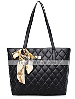 cheap -Women's PU Top Handle Bag Leather Bags Solid Color Black