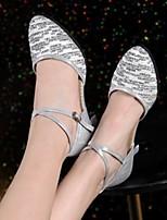 cheap -Women's Latin Shoes PU Heel Cuban Heel Dance Shoes Red / Gold / Silver
