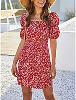 cheap -Women's A-Line Dress Short Mini Dress - Short Sleeves Floral Summer Mumu Boho 2020 Red S M L XL