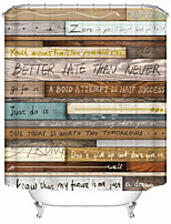 cheap -Quotes on old wooden boards Shower Curtains & Hooks Modern Polyester New Design