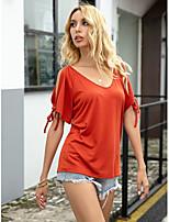 Недорогие -Жен. Блуза Однотонный Верхушки Вырез лодочкой Повседневные Красный XS S M L