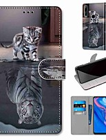 cheap -Case For Huawei P40 Huawei P40 Pro Huawei P40 lite E Wallet Card Holder with Stand Full Body Cases Cat becomes Tiger PU Leather TPU for Huawei Mate 30 Lite Honor 10 Lite Honor 9A