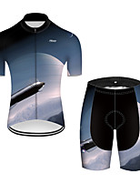 cheap -21Grams Men's Short Sleeve Cycling Jersey with Shorts Nylon Polyester Black / White 3D Gradient Rocket Bike Clothing Suit Breathable 3D Pad Quick Dry Ultraviolet Resistant Reflective Strips Sports 3D
