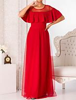 cheap -A-Line Elegant Minimalist Engagement Formal Evening Dress Jewel Neck Short Sleeve Floor Length Tulle with Sash / Ribbon 2020