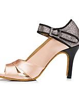 cheap -Women's Latin Shoes PU Heel Cuban Heel Dance Shoes Nude / Purple