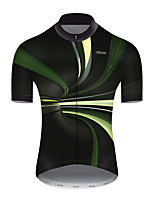 cheap -21Grams Men's Short Sleeve Cycling Jersey Nylon Polyester Black / Green 3D Stripes Gradient Bike Jersey Top Mountain Bike MTB Road Bike Cycling Breathable Quick Dry Ultraviolet Resistant Sports